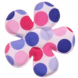 polkadot bloem wit met multicolor stippen roze-lichtblauw-blauw