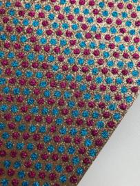 Glitter leer stip/polkadot goud/fuchsia/blauw 20x22 cm