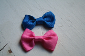 Vlinderstrik Royal blue/cobalt blauw-Roze 6.5cm kies jou kleur
