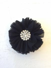 Luxe bloem met strass  zwart