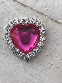 Flatback rhinestone hartje hot pink 2cm