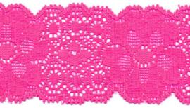 Elastisch kant (haarbandjes) knal roze 5 cm