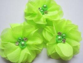 Bloem chiffon met parels & strass neon groen/geel