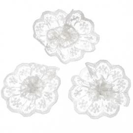 Kanten rozet/bloem wit 4 cm