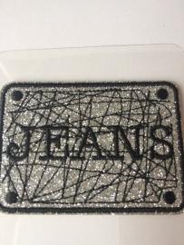 Opstrijk applicatie JEANS zilver zwart  glitter