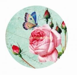 Flatback Vintage vlinder en roze roos (k305)