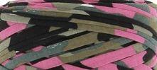 Tricot band  legergroen/roze hoooked zpagetti