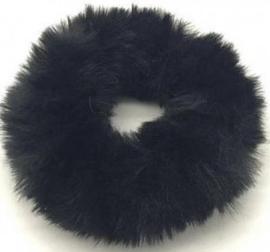 Scrunchie Haarwokkel fluffy  zwart