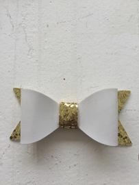 Strik  leer/glitter 7 cm wit/goud