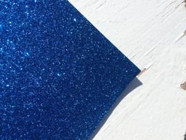Glitter leer Royal Blue/cobalt blauw 20x30 cm