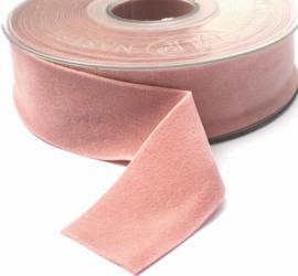 Velvet/fluweel band dusty pink/oud roze dubbelzijdig  2.5cm