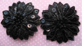 Bloem zwart pailletten 5 cm