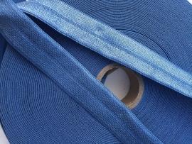 Elastisch biasband denim blue  2cm