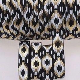 Elastisch haarband  zwart met ibiza print