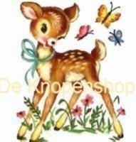 Flatback Vintage deer & vlinders wit (k501)
