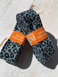 Biasband tijger/panter print grijs/groen
