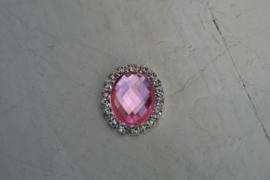 Flatback rhinestone ovaal roze