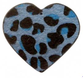 Hanger pu leer  hart harig met tijgerprint jeans blue