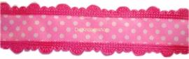 Stippenband met schulp randje roze/fuchsia
