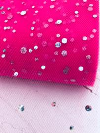 Glitter tule neon roze