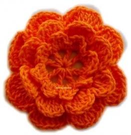 A0227 Gehaakte katoenen bloem oranje