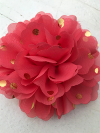 Bloemen chiffon 10 cm coral polkadot goud