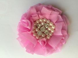 Luxe bloem met strass en parels roze