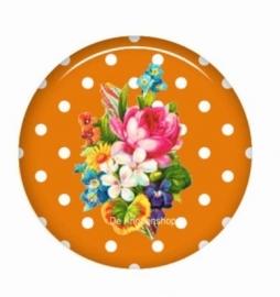 Flatback bloemen polka dot oranje (k126)