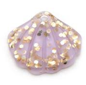 Flatback kraal schelp lila glitter goud