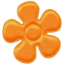 Applicatie bloem NEON oranje satijn 4.5 cm