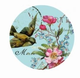 Flatback Vintage zwaluw (links) & bloemen (k483)