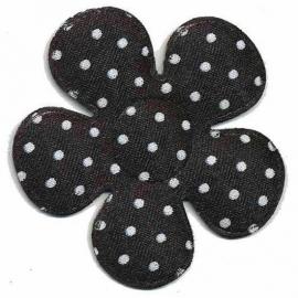 A0350 Polkadot bloemen zwart 3.5 cm