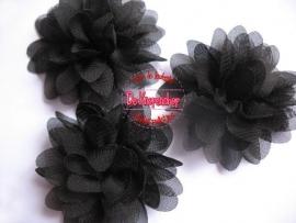 Chiffon bloem zwart 6,5cm