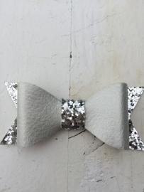 Strik  leer/glitter 7 cm zilver