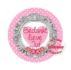 Flatback tekst bedankt lieve juf hartje roze(k891)