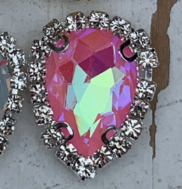 Flatback rhinestone druppel luxe pink 2.5cm