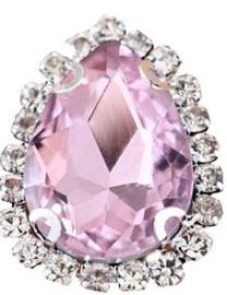 Flatback rhinestone druppel luxe pink spiegelend 2.3cm