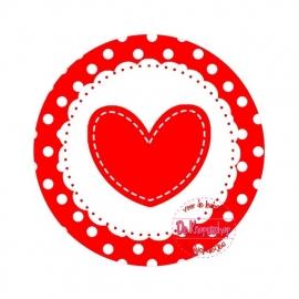 Flatback hartje rood polkadot