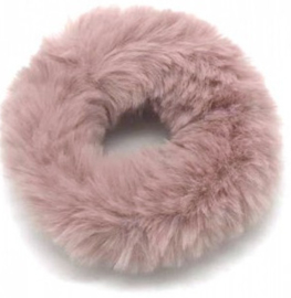 Scrunchie Haarwokkel fluffy  dusty pink / oud roze