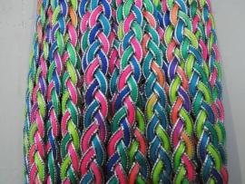 gevlochten ibiza band neon kleuren/zilver