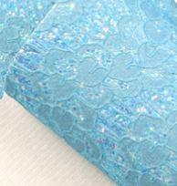 Leer kant hartjes  aqua glitter  20x30cm