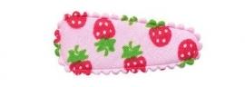 Kniphoesje baby roze met aardbeien print