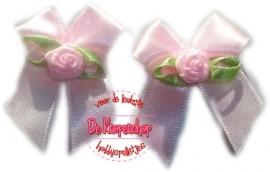 Strikje baby roze en roosje satijn