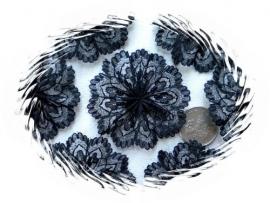 Kanten rozet/bloem zwart pst 5,5 cm