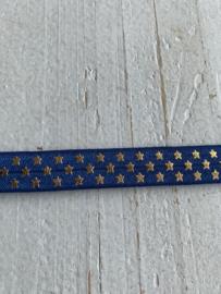 Elastisch haarband jeans met  sterretjes goud