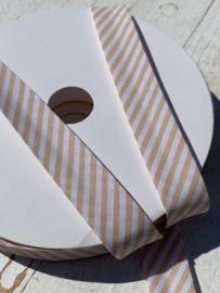 Biasband streep wit/beige per meter