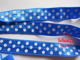 Haarband elastiek royal blue polkadot 1.5 cm