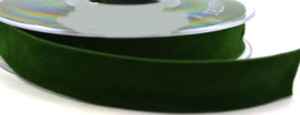 Velvet/fluweel band donker groen dubbelzijdig 1.5cm