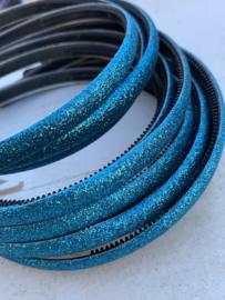 Diadeem glitter blauw 1cm