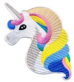 Opstrijkbare applicatie unicorn hoorn grijs